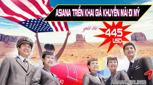 Asiana triển khai giá khuyến mãi đi Mỹ