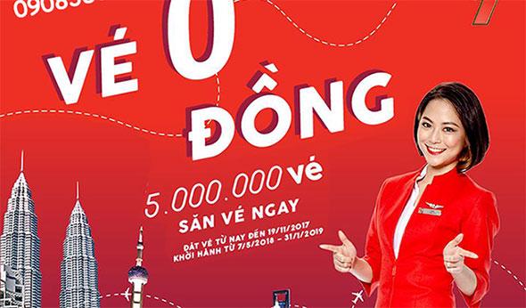 Chớp ngay 5 triệu tấm vé 0 ĐỒNG hãng AirAsia