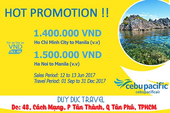 Cebu khuyến mãi vé siêu rẻ bay Manila giá từ 1 400 ngàn
