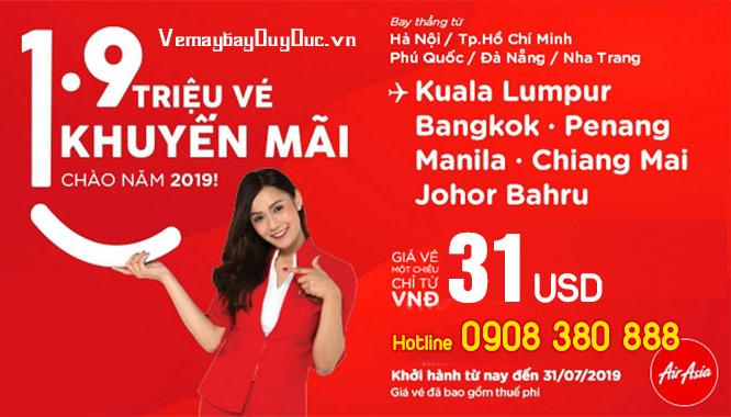 Đầu năm 2019 AirAsia khuyến mãi vé 31 USD