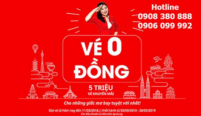 Siêu khuyến mãi 5 triệu vé 0 đồng hãng AirAsia
