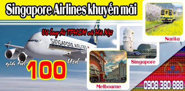 Singapore Airlines khuyến mãi vé bay từ TPHCM và Hà Nội