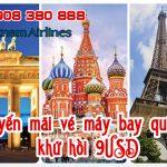 Vietnam Airlines khuyến mãi vé quốc tế khứ hồi 9USD