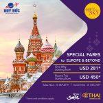 Thai Airways khuyến mãi đặc biệt từ Hà Nội đi châu Âu