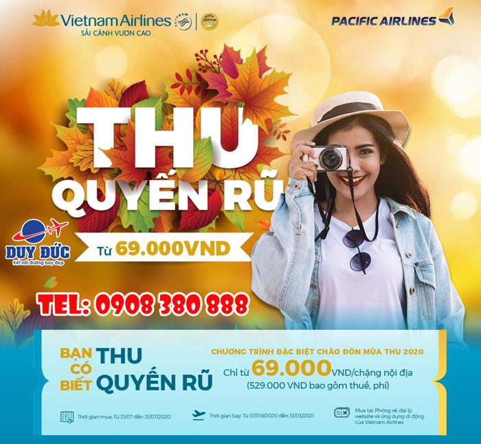 """Vietnam Airlines mở bán vé """"Thu Quyến Rũ"""" chỉ từ 69.000 đồng/chiều"""
