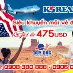 Korean Air siêu khuyến mãi vé đi Mỹ 475 USD